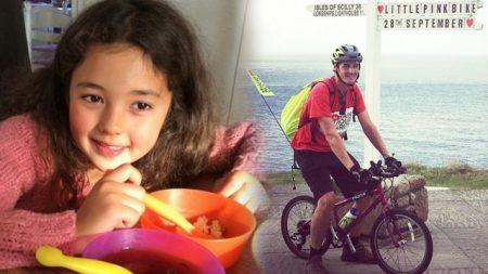 À la mémoire de sa fille disparue, ce père qui mesure 1,80 m parcourt 340 km sur un vélo rose de fillette
