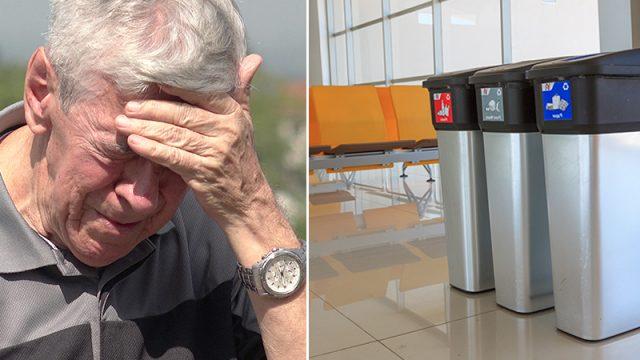 Une étrangère se porte au secours d'un homme âgé qui a dû jeter un colis dans les poubelles de l'aéroport